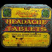 Rawleighs Headache Remedy Drugstore Advertising Tin