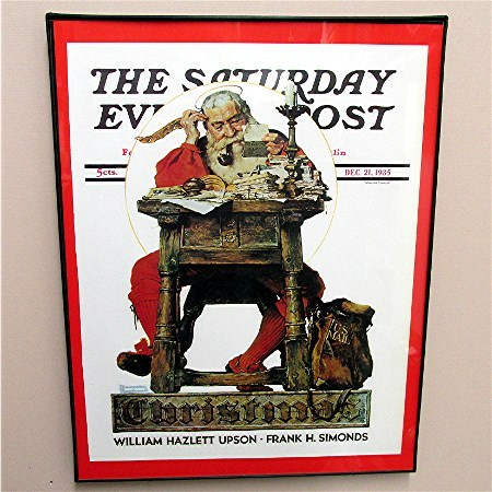 Santa Reading His Mail Christmas 1935 Framed Saturday Evening Post Cover 50% Off