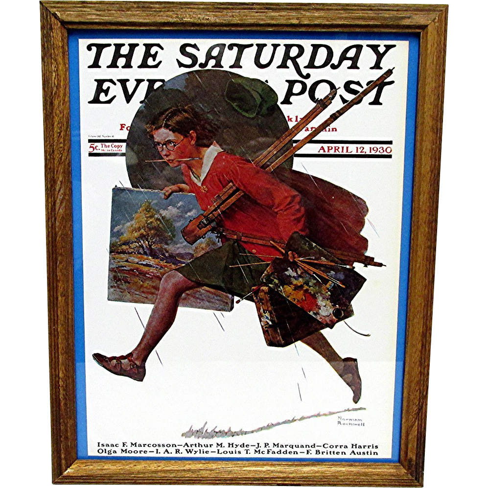 SOLD   SEE others for SALE  Wet Paint April 12, 1930 Saturday Evening  Post Cover by Norman Rockwell 50% Off