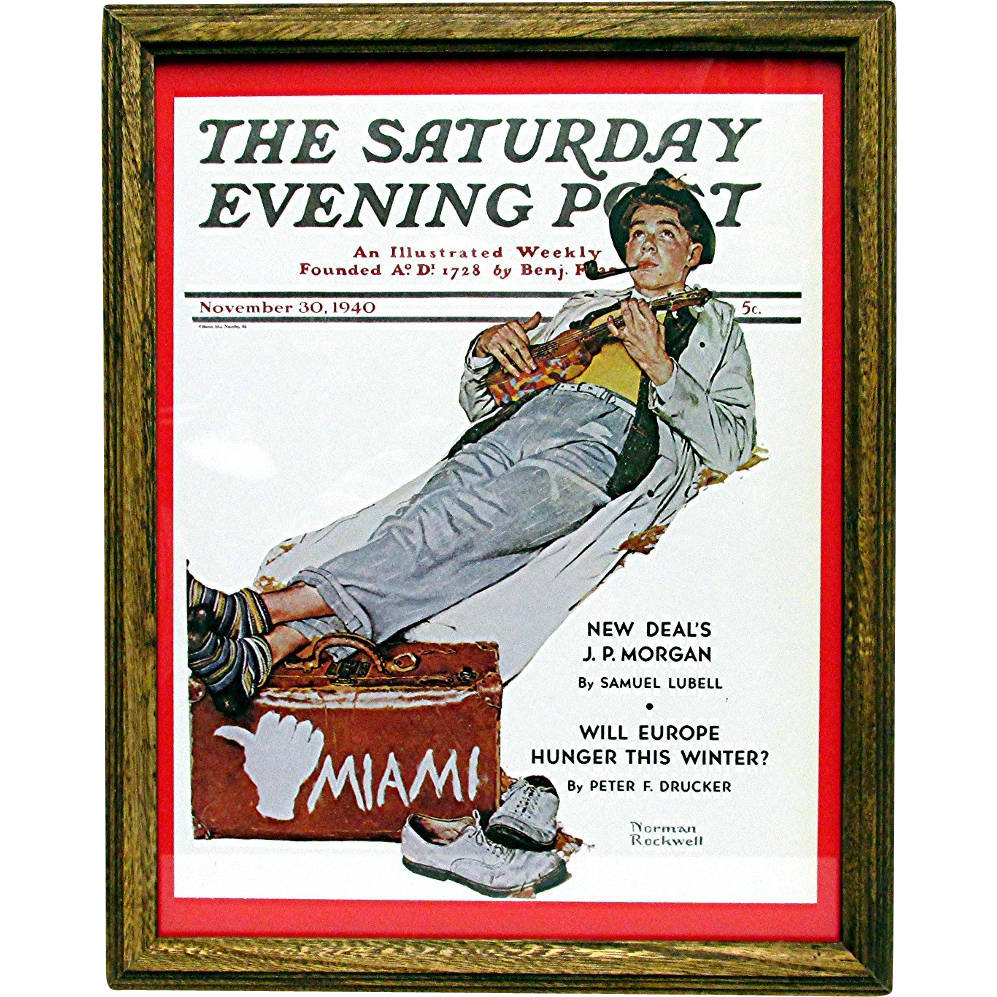 Miami Bound November 30 1940 Saturday Evening Post Cover by Norman Rockwell 50% Off