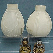 Gaslight Light Shades Matching Glass Pair Of Lamps
