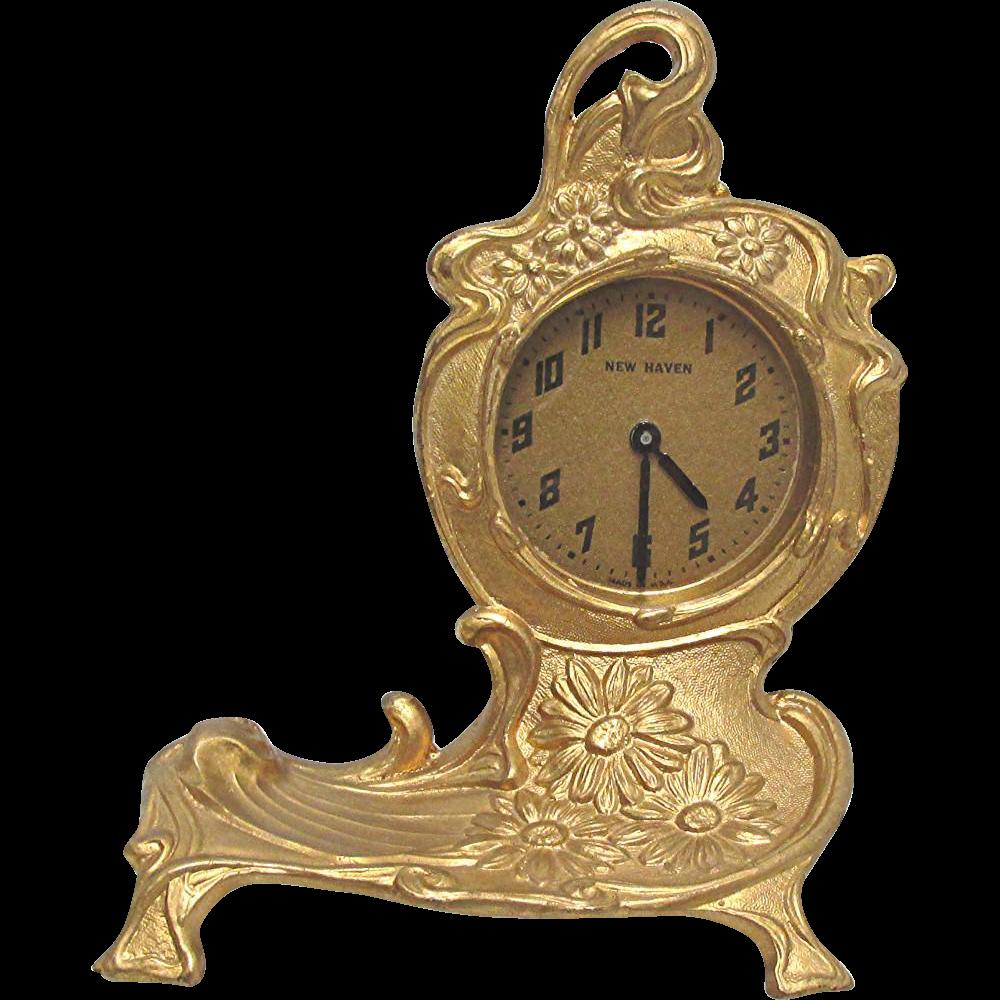 Clock by Jennings Bros. Clock Runs and Keeps Time Gold Gilt Art Nouveau