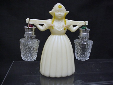 Salt and Pepper Set Dutch Girl Carrying Glass Shakers