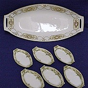Nippon Celery Set White and Gold Porcelain