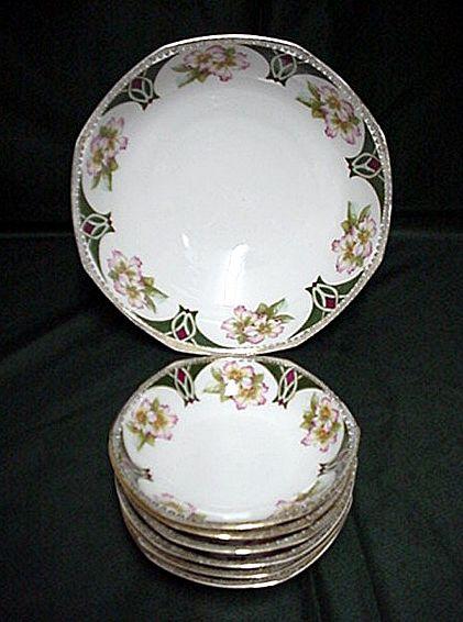 Ice Cream Set Austrian Porcelain Service for Four
