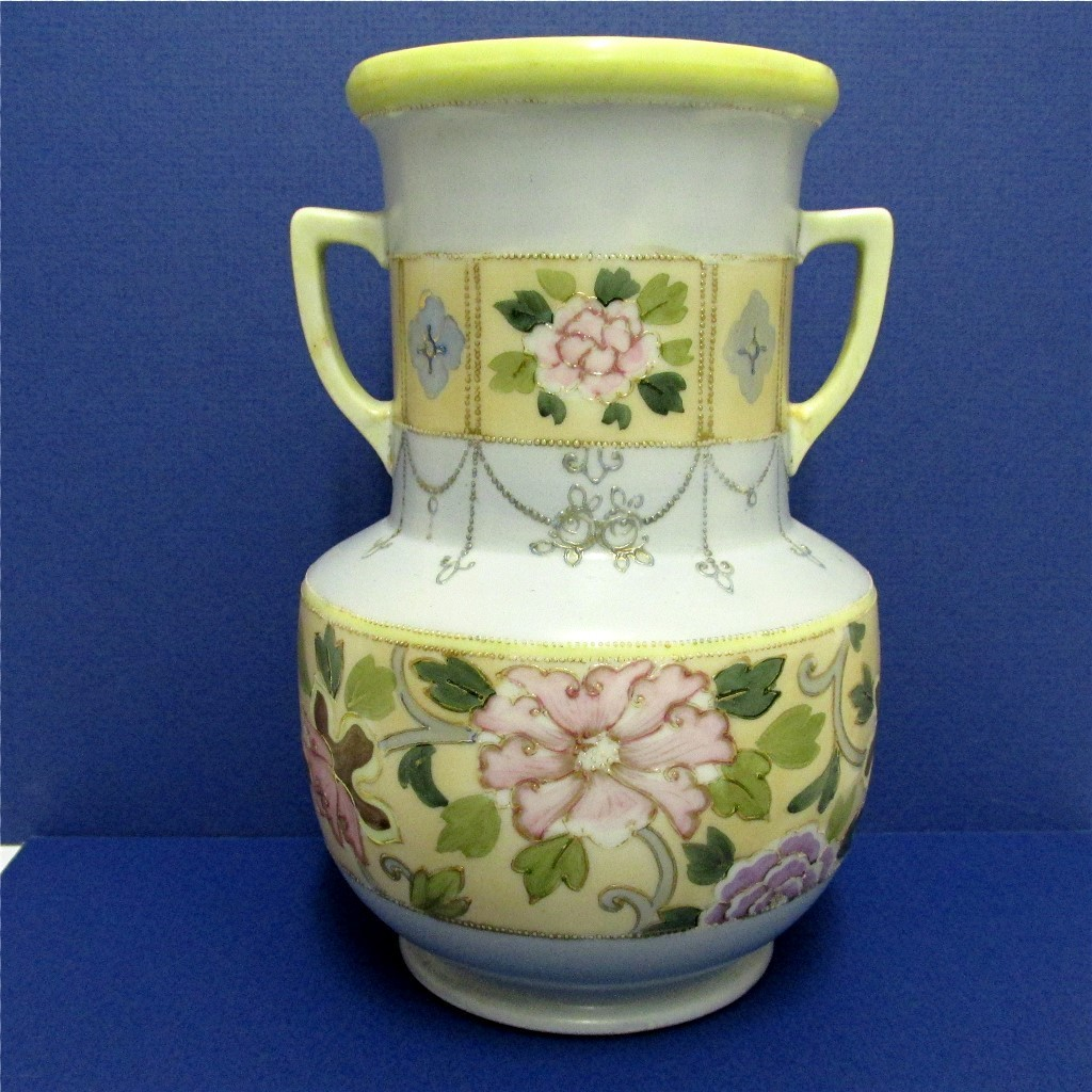 Vase Nippon Porcelain Certified Mark Hand Painted Flowers and Gold Beading