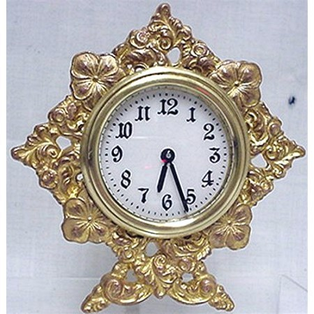 SOLD   Waterbury Gold Gilt  Strut Clock for Table, Mantel, Desk or Shelf