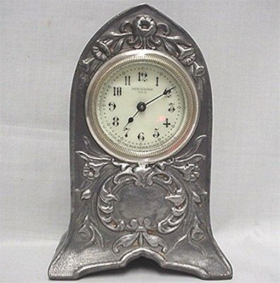 SOLD   New Haven Mantel Clock  Pewter Finish
