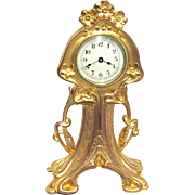 Art Nouveau Gold Gilt Mantel Clock Runs and Keeps Accurate Time