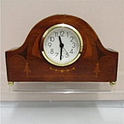Antique Inlaid Art Nouveau  Walnut Clock for Mantel or Desk