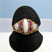 Ruby and Opal Ring 1873 15 carat Gold  Size 8 1/2