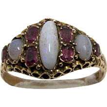 Ring Antique  Amethyst  and Opal  1873 15 carat Gold Size 8 1/2
