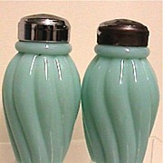 Salt and Pepper Shaker Set Antique American Glass