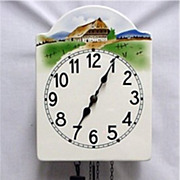 Austrian Wall Clock Weight Driven Porcelain Dial