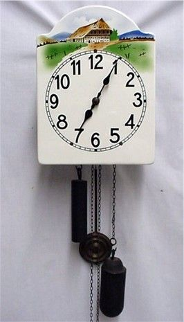 Signed Austrian Wall Clock Weight Driven Porcelain Dial