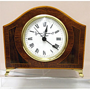 Antique French Inlaid Clock For Desk, Mantel, Table