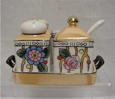 Chikaramachi Porcelain Art Nouveau Condiment Set   ***Selling at Cost