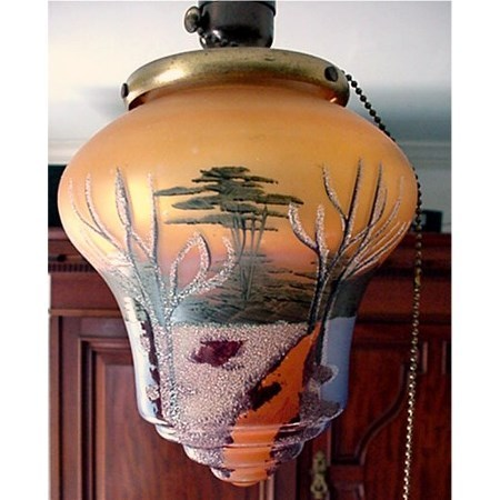Antique Hand Painted Ceiling Drop Light Glass Shade Fixture   $295