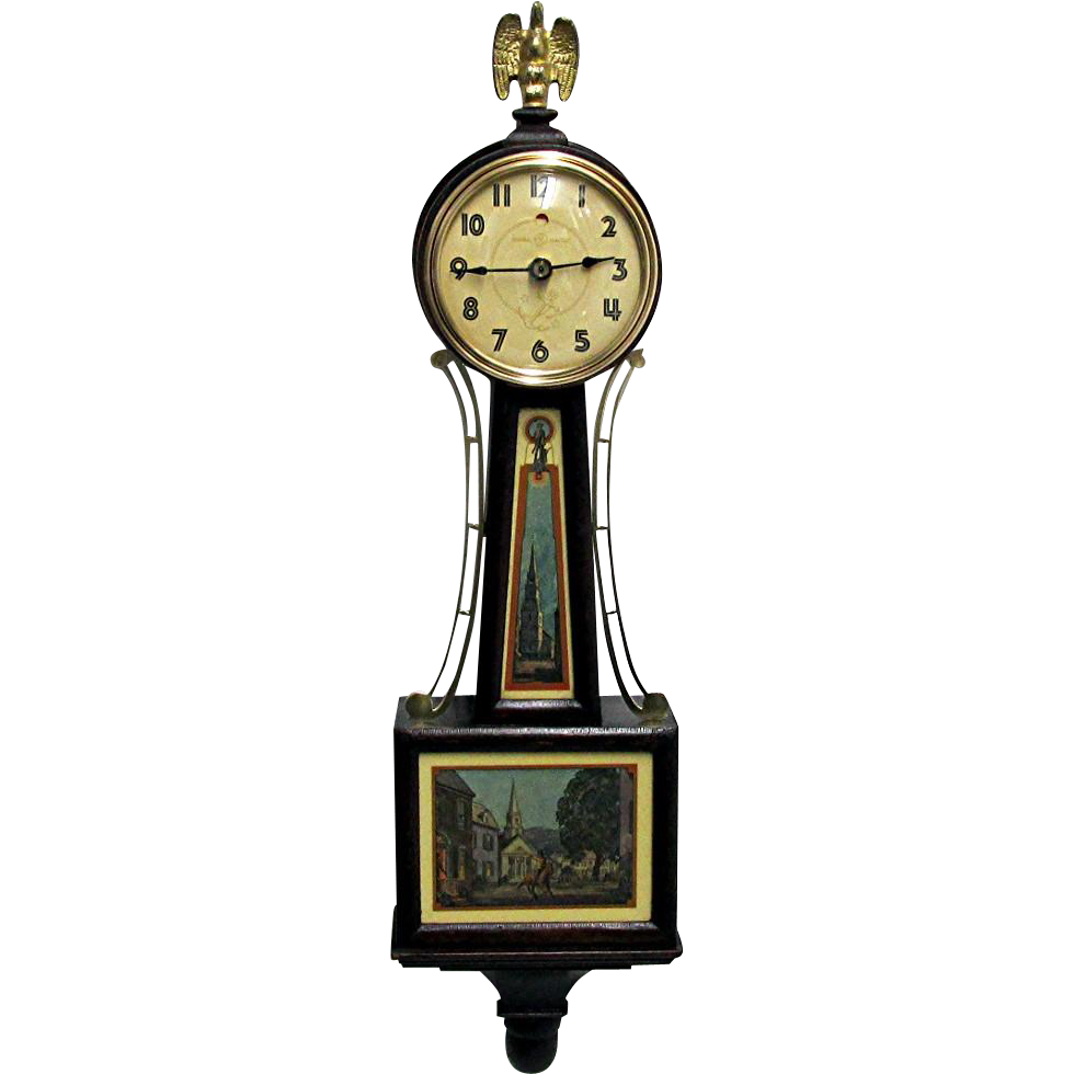 SOLD   Paul Revere Banjo Wall Clock Runs and Keeps Time
