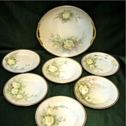 Nippon Porcelain Certified Mark Cake Set Artist Signed