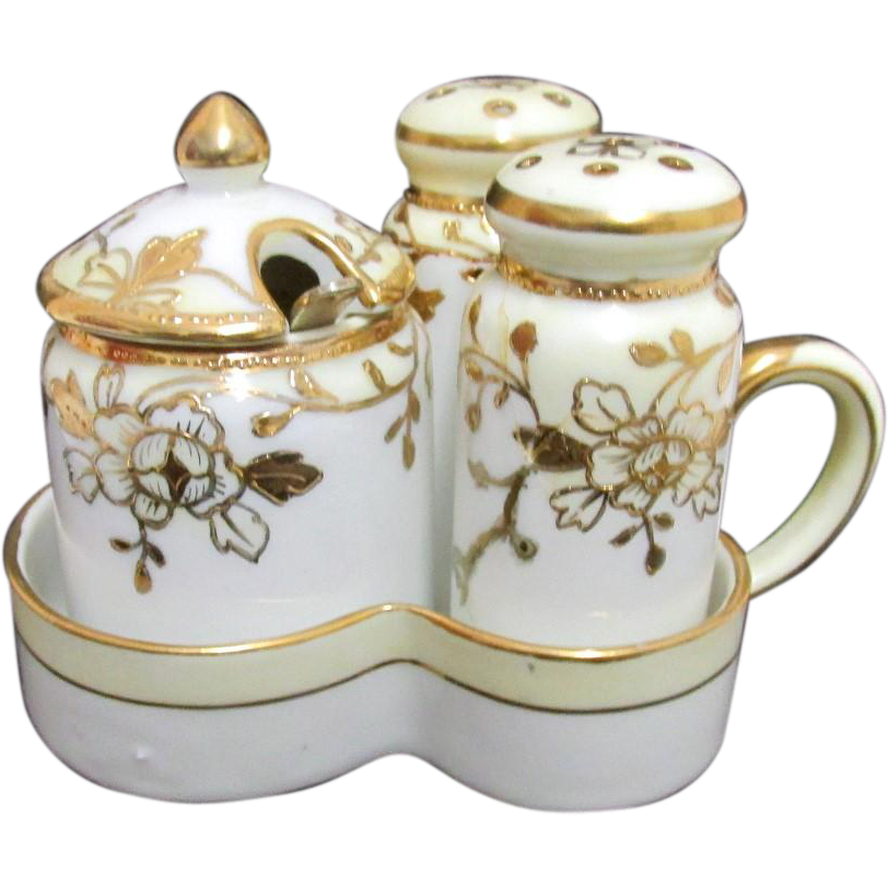 Nippon Condiment Set White and Gold Pattern