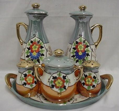 Cruet or Condiment Set Takito Porcelain Complete Set Oil, Vinegar, Salt,Pepper, Mustard and Tray
