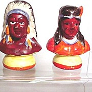 American Indian Salt and Pepper Set Busts of Indian Chief and Brave Shakers