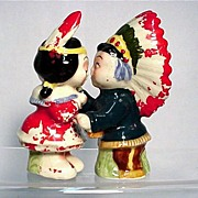Salt and Pepper Kisser Set Indian Chief and Squaw Shakers