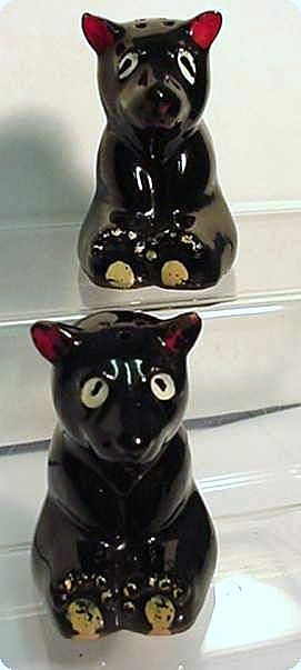 Salt and Pepper Shakers Red Clay Bears