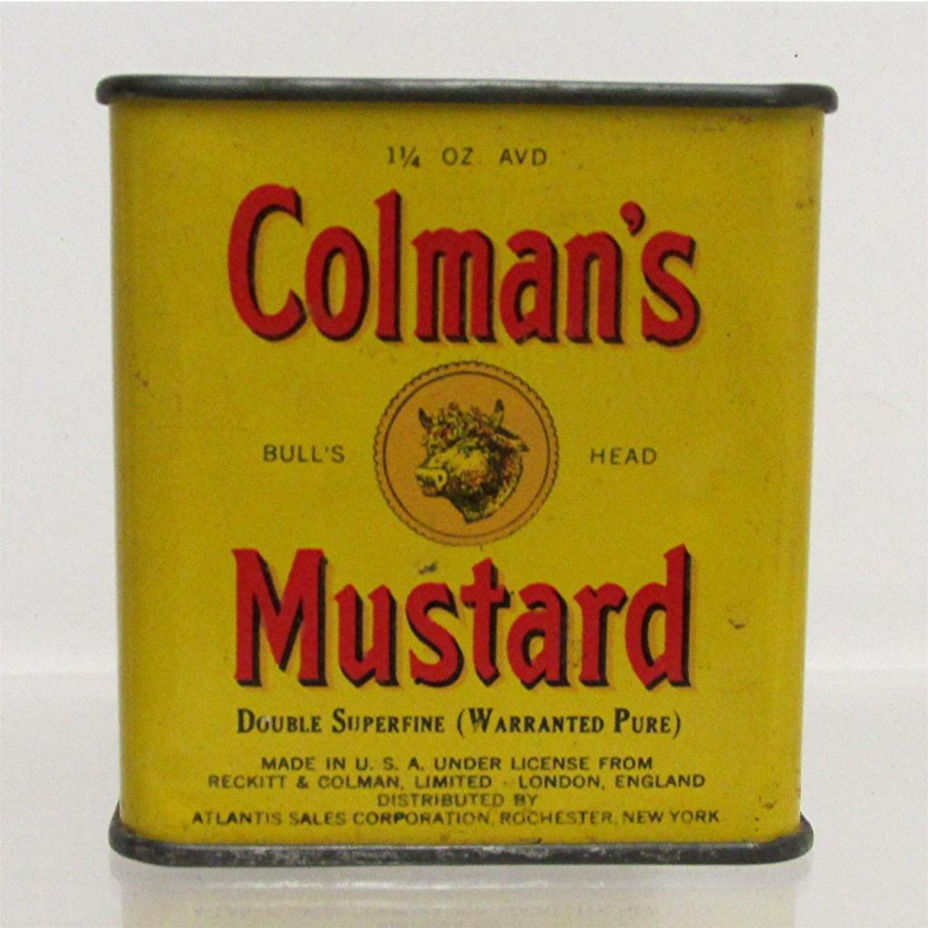 SOLD   See Large Size Item # 7896   Spice Tin Colman Mustard with Original Contents
