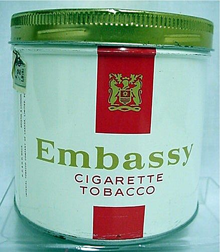 Embassy Cylindrical Advertising Tobacco Tin