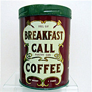Tin Breakfast Call Advertising Coffee Tin
