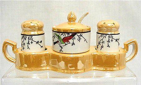 Luster Salt Pepper Mustard Set in Tray