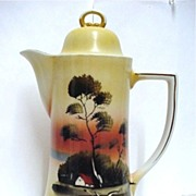 Chocolate or Cocoa Pot Hand Painted Sunset Scene