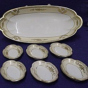 Noritake Celery Set White and Gold Series Master Dish and Six Salts