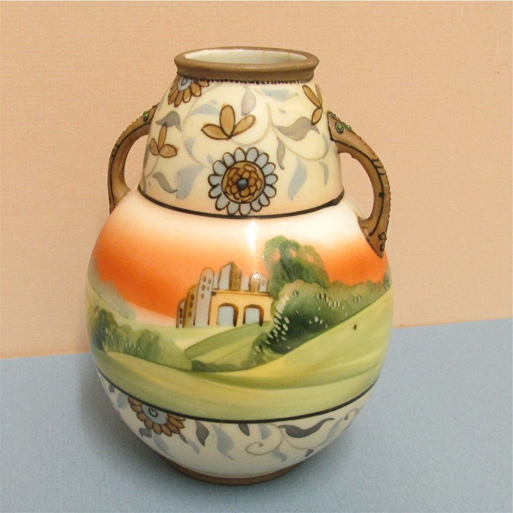 Vase  Nippon Bisque Porcelain Hand Painted Antique
