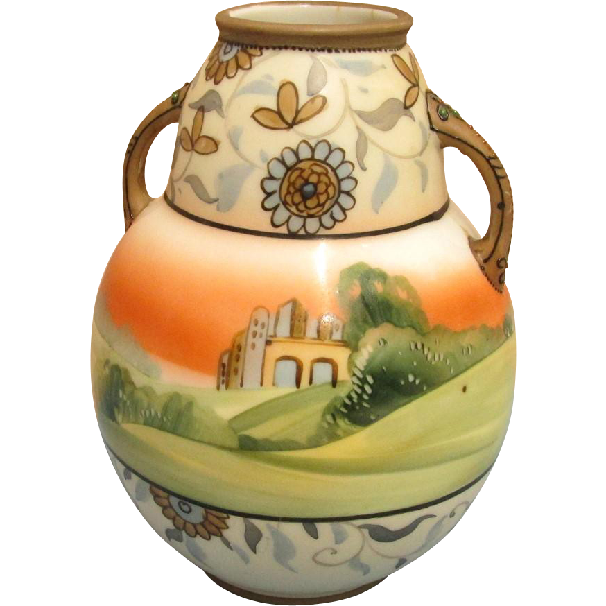 Antique Vase Nippon Porcelain Bisque Finish Scenic