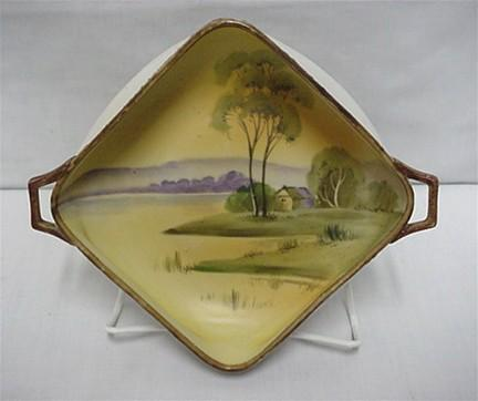 Nippon Dish  Bisque Finish Hand Painted Landscape