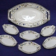 Relish Set Nippon Porcelain Master Dish and Six Servings