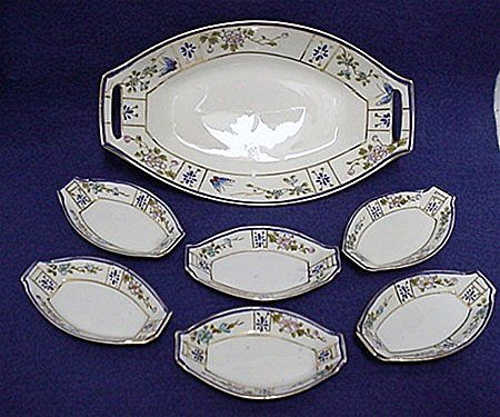 Relish Set Nippon Porcelain Master Dish and Six Servings