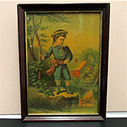 SOLD Framed Print Victorian Boy with his Sailboat