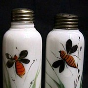 Salt and Pepper Shaker Set Antique American Opalware Glass