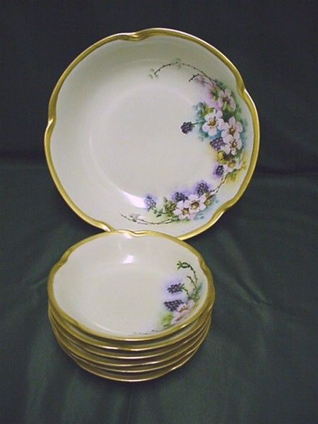 Bavarian Porcelain Serving Bowl and Six Individual Servings
