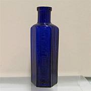 Cobalt Poison Bottle Ribbed Panels and Hexagon Shaped