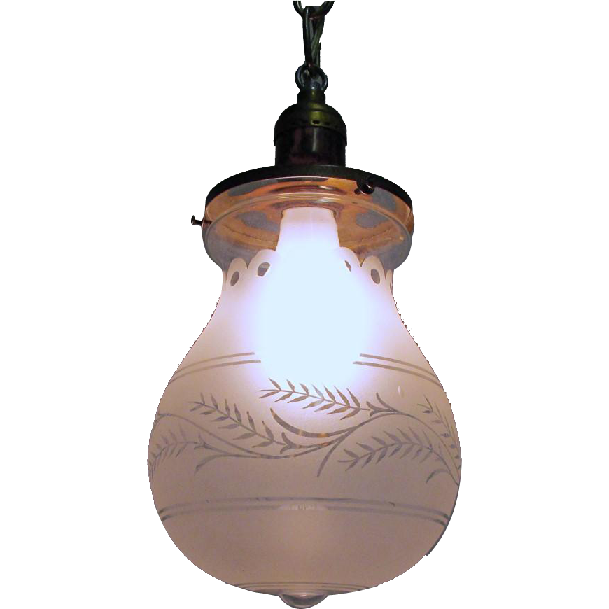 SOLD    See other LIGHTS for SALE    Hall Lamp Antique Pendant Light with Frosted and Etched Balloon Shape Glass Globe