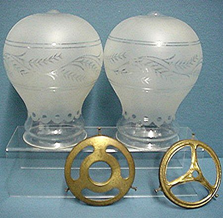 Glass Shades a pair of Etched Balloon Shape for Antique Lamp