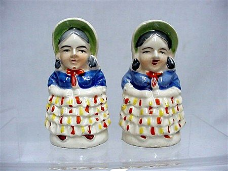 Salt and Pepper Set Pair of Early American Women