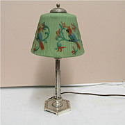 Table Lamp By Pairpoint with Blue Parrot Reverse Painted Shade