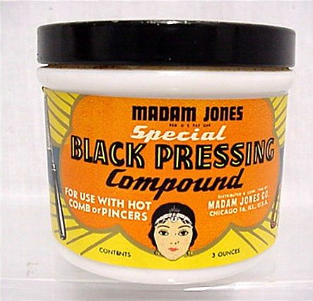 Sold Milk Glass Beauty Jar Madame Jones  Black Pressing Compound