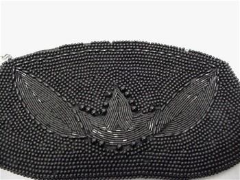 Hand Bag Black Beaded Clutch Purse
